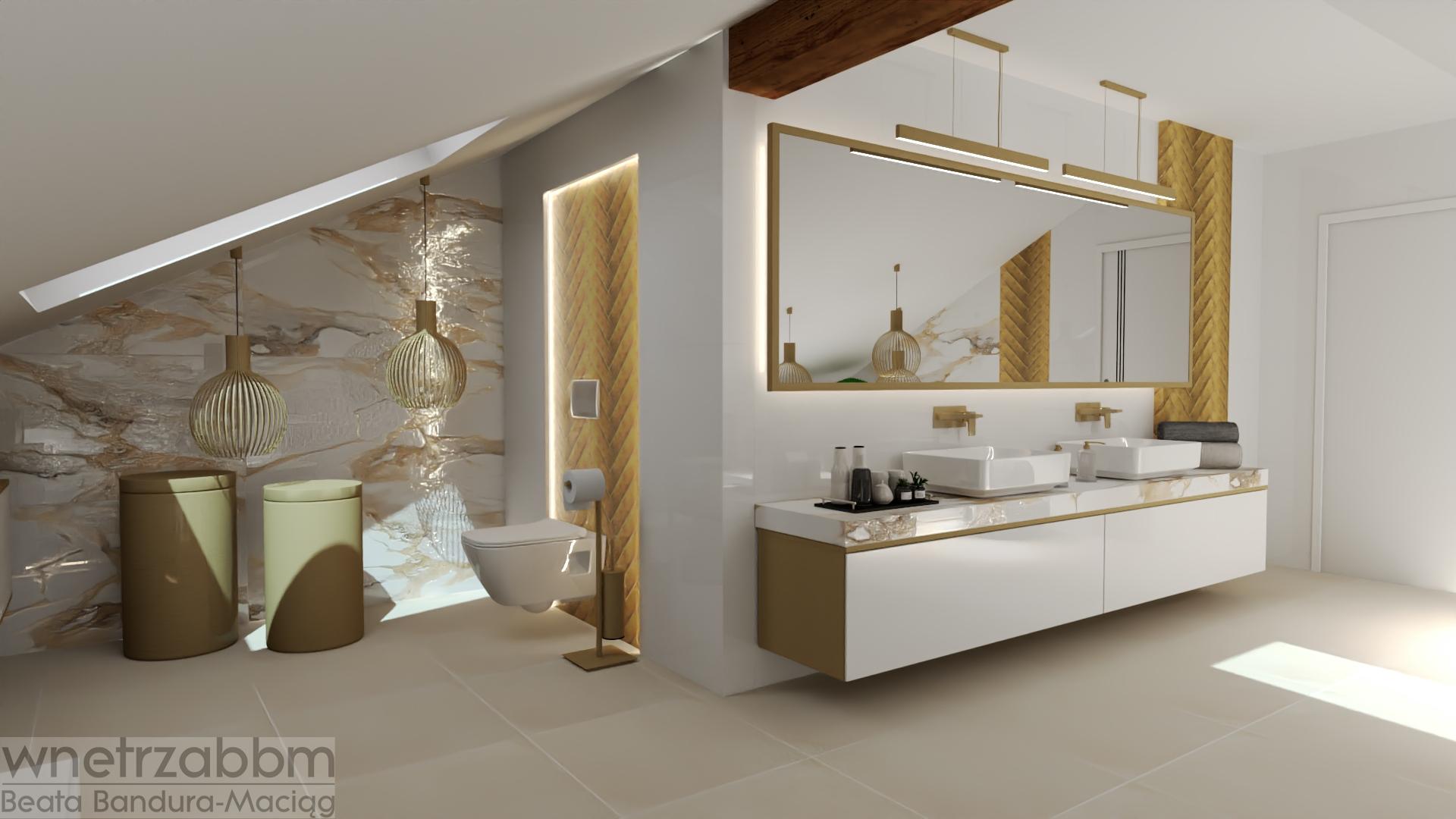 Łazienka 21 – złota łazienka z biokominkiem